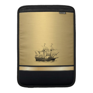 Classy attractive Golden look Ancient ship Sleeve For MacBook Air