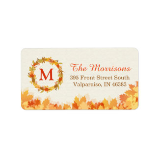 Classy Autumn Gold Red Leaves Wreath Monogram Label