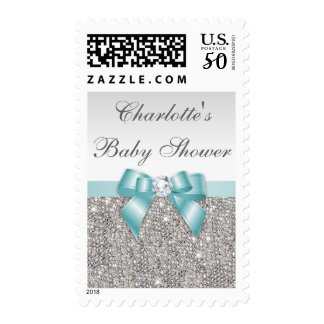 Classy Baby Shower Faux Silver Sequins Teal Bow Postage