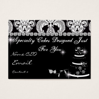 CLASSY BAKERY Business Card Black & White Damask