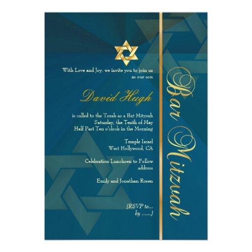 Classy Bar Mitzvah/teal blue/gold Custom Invitations