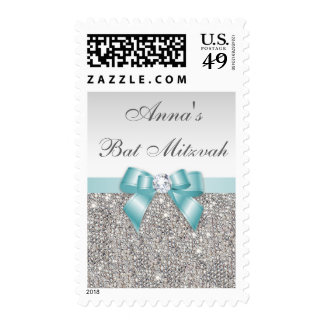 Classy Bat Mitzvah Faux Silver Sequins Teal Bow Postage