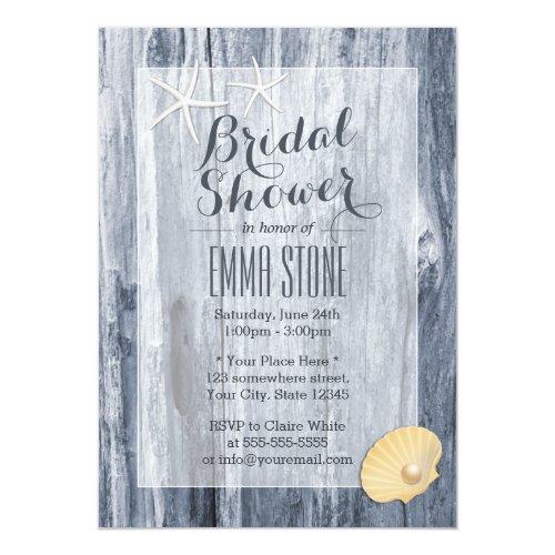 Classy Beach Theme Blue Driftwood Bridal Shower Invitation