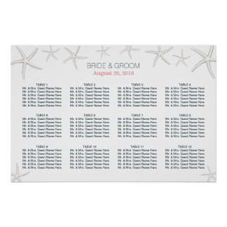 Classy Beach Theme Starfish Wedding Seating Chart