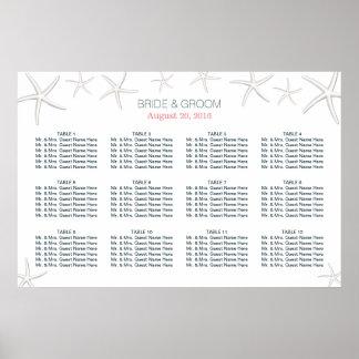 Classy Beach Theme Starfish Wedding Seating Chart Poster