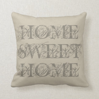 Classy beige taupe home sweet home throw pillow