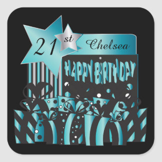 Classy Birthday   DIY Name & Age   Turquoise Square Sticker