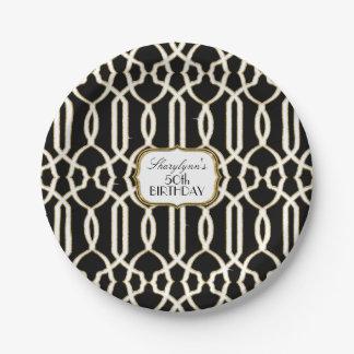 Classy Birthday Party Decor Trellis Lattice Gold Paper Plate