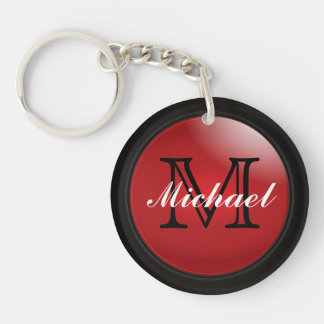 Classy Black and Deep Red Styled Monogrammed Name Double-Sided Round Acrylic Keychain