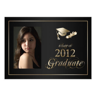 Classy Black and Gold 2012 Graduate Photo Invite