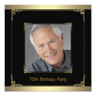 Classy Black and Gold 70th Birthday Party Card