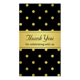 Classy Black and Gold Glitter Polka Dots Thank You Business Card