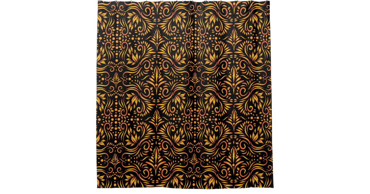 Classy Black And Gold Ornate Pattern Shower Curtain Zazzle