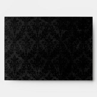Classy Black and Gold: Script & Damask Linen A-7 Envelope