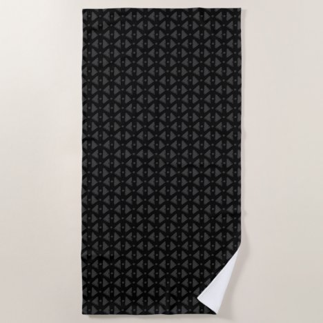 Classy black and grey abstract pattern beach towel