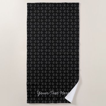 Beach Themed Classy black and grey abstract pattern with text beach towel