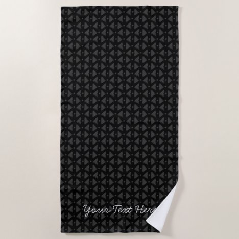 Classy black and grey abstract pattern with text beach towel