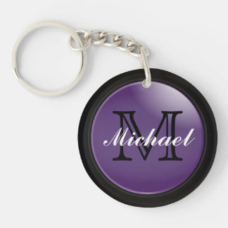 Classy Black and Purple Styled Monogrammed Name Double-Sided Round Acrylic Keychain