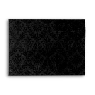 Classy Black and Red: Script & Damask Linen A-7 Envelope