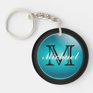 Classy Black and Turquoise Styled | Monogram Double-Sided Round Acrylic Keychain