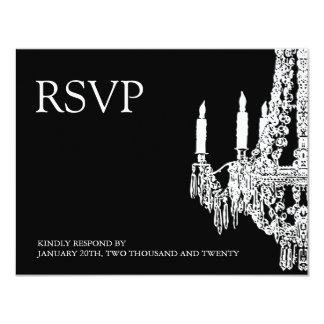 Classy black and White Chandelier RSVP Cards Custom Announcements