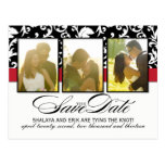 Classy Black and White Damask Save the Date Post Card
