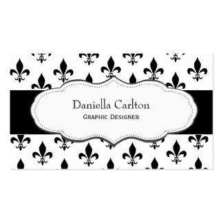 Classy Black and White Fleur de Lis business cards