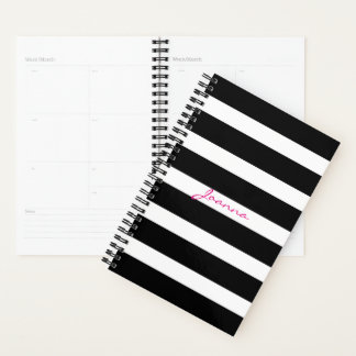 Classy Black And White Geometric Stripes Planner