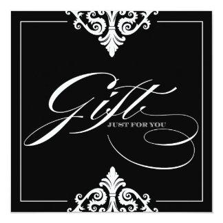 Classy Black and White Gift Certificate Personalized Announcements