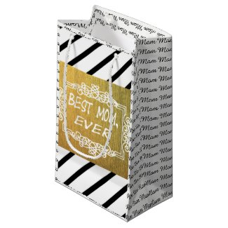 Classy black and white golden best mom ever small gift bag