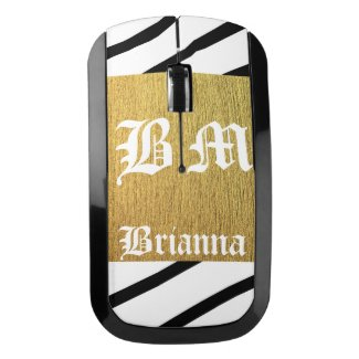 Classy black and white golden Monogram Wireless Mouse