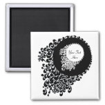 Classy Black And White Ornate Pattern Fridge Magnets