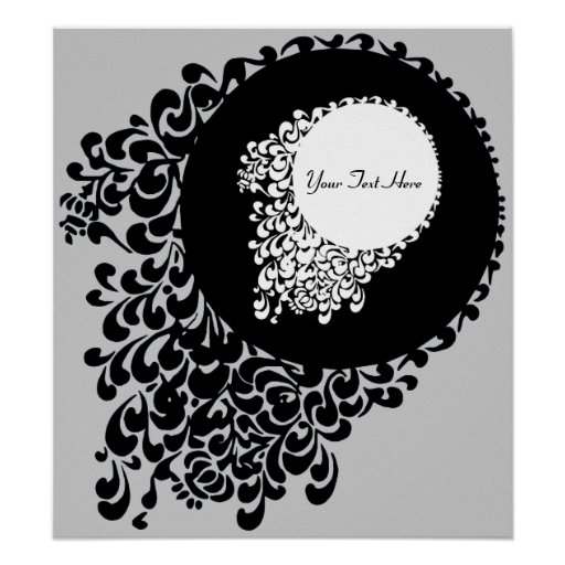 Classy Black And White Ornate Pattern Poster