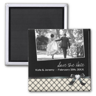 Classy Black and White Save the Date 2 Inch Square Magnet