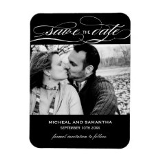 Classy Black And White Save The Date Magnets at Zazzle