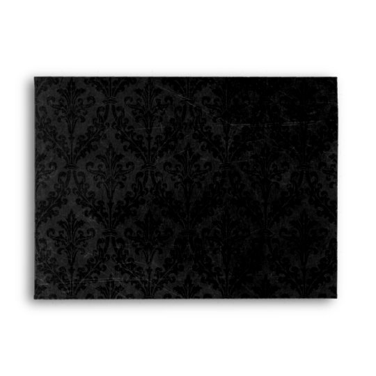 Classy Black and White: Script & Damask Linen A-7 Envelope