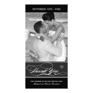 Classy Black and White Thank You Photo Card (4x8)