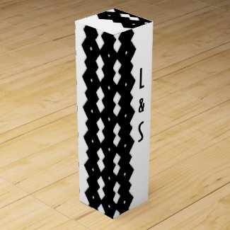 Classy Black and White Zig Zag Design Wine Boxes
