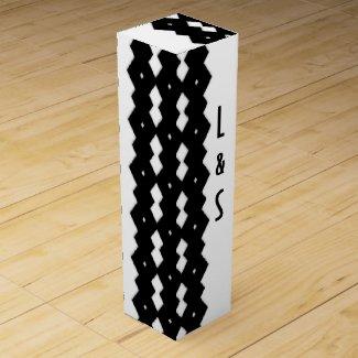 Classy Black and White Zig Zag Design Wine Boxes
