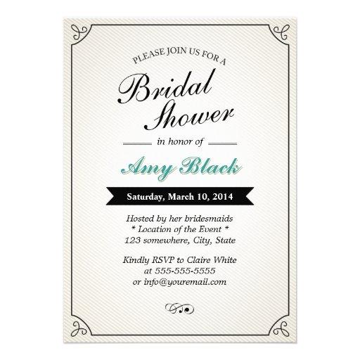 Classy Black Banner Bridal Shower Invitations