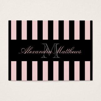 Classy Black Blush Stripe Business Card