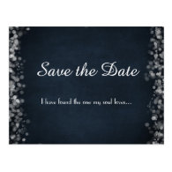 Classy Black Chalkboard Bokeh Lights Save the Date Postcard