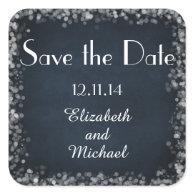 Classy Black Chalkboard Bokeh Lights Save the Date Sticker