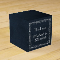 Classy Black Chalkboard with White Bokeh Lights Favor Box