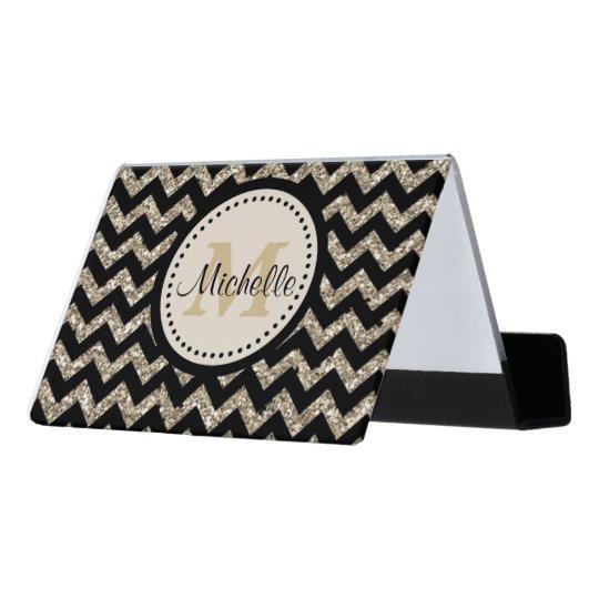 classy black chevron gold monogram desk business card holder - Monogram Card Holder