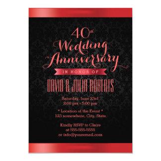Classy Black Damask Ruby Wedding Anniversary Card