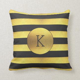 Classy Black Faux Gold Foil Stripes Monogram Pillow