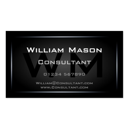 Classy Black Framed Monogram Professional Double Sided