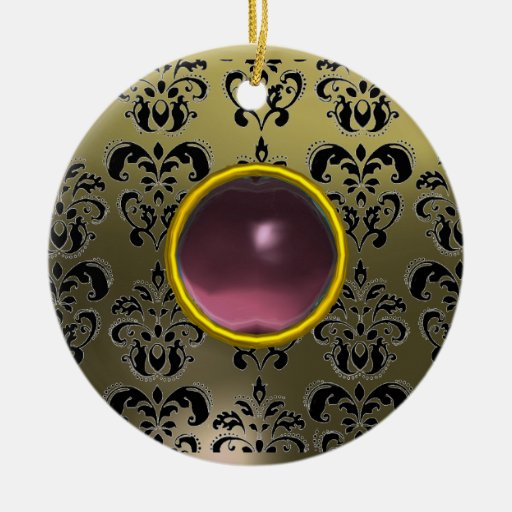 CLASSY BLACK GREY PINK PURPLE DAMASK GEM Double-Sided CERAMIC ROUND CHRISTMAS ORNAMENT