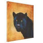 Classy Black Jaguar Big Cat on Rustic BG Gallery Wrapped Canvas